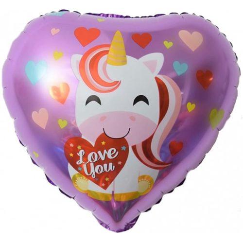 Шар 46 см Сердце Люблю Тебя Единорог и сердечки Сиреневый