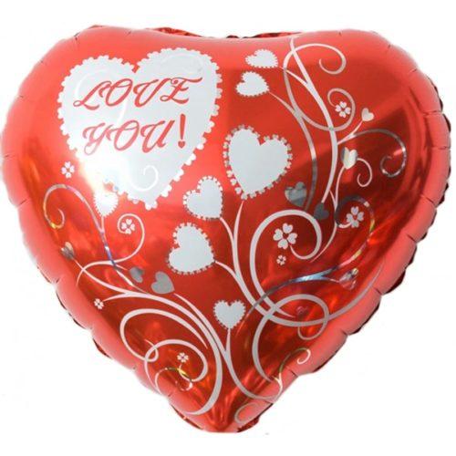 Шар 46 см Сердце Люблю Тебя Узоры Красный
