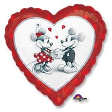 Шар 46 см Сердце Микки и Минни влюбленные голография
