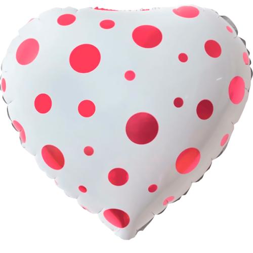 Шар 46 см Сердце Розовые точки Белый