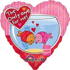 Шар 46 см Сердце Рыбки на сердце