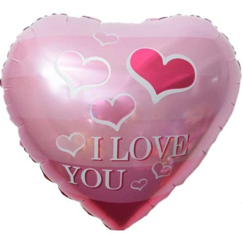Шар 46 см Сердце Я Люблю Тебя Летящие сердечки Розовый