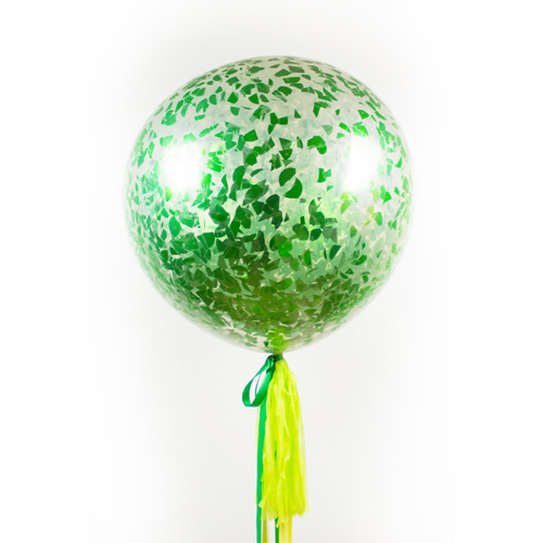Большой шар с Конфетти Лентой и Грузиком Зеленый