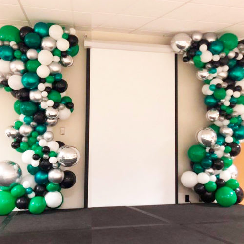 Гирлянда из шаров Зеленый белый серебро для оформления фотозоны 6 метров
