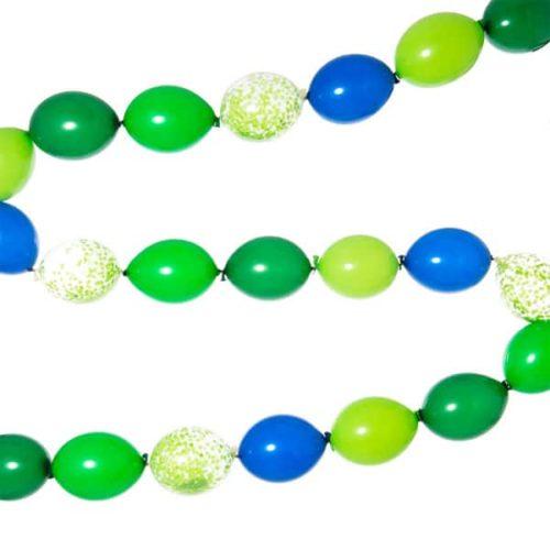 Гирлянда простая из шаров с воздухом Зеленый и Синий 4 метра