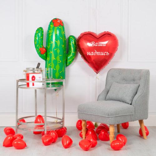 Комплект шаров Кактус и Сердечки с Индивидуальной надписью