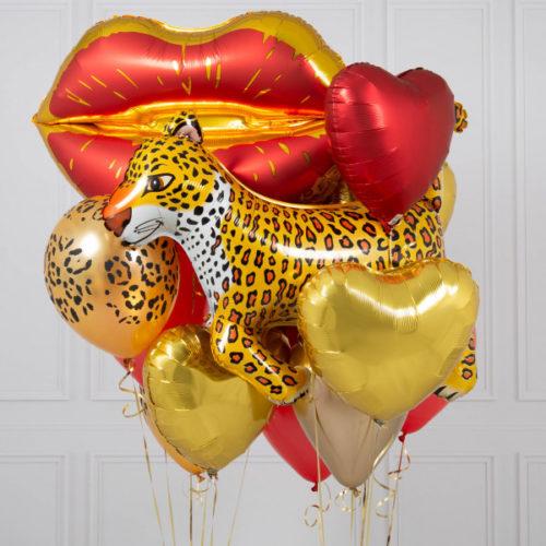 Комплект шаров Любовь Губы и Леопард с Индивидуальной надписью