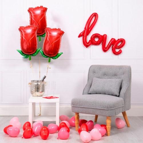 Комплект шаров Любовь и Розы