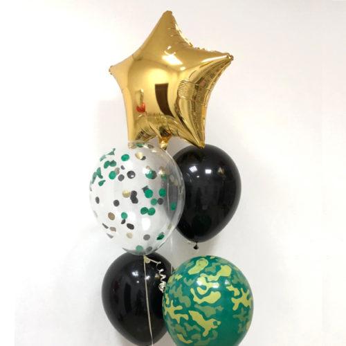 Связка из шаров на Звезда Золото Хаки и шары с Конфетти