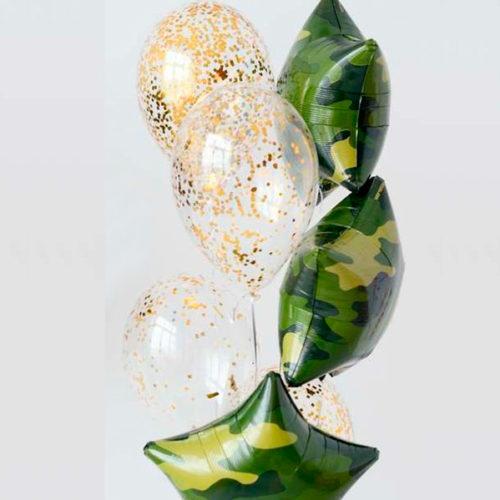 Связка из шаров на 23 февраля Звезды Хаки и шары с Конфетти