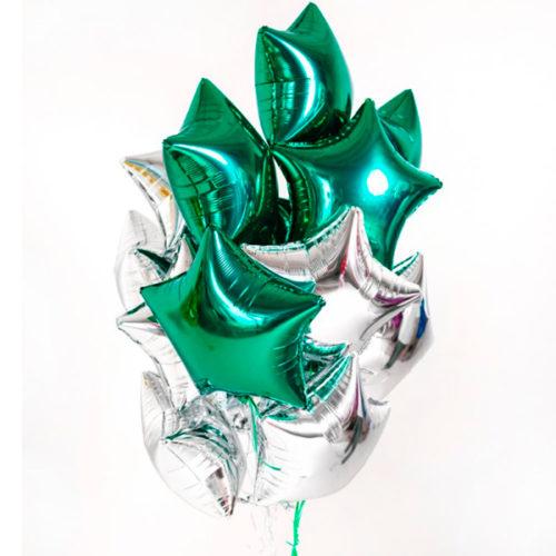 Связка из шаров на 23 февраля Зеленый и Серебро