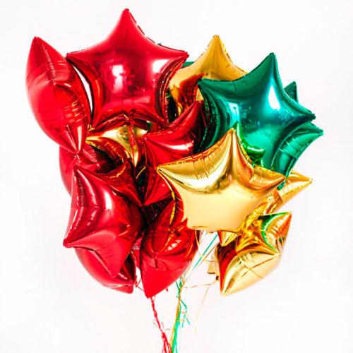 Связка из шаров на 23 февраля Золото Зеленый и Красный