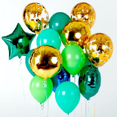 Связка из шаров на 23 февраля Золото и Зеленый