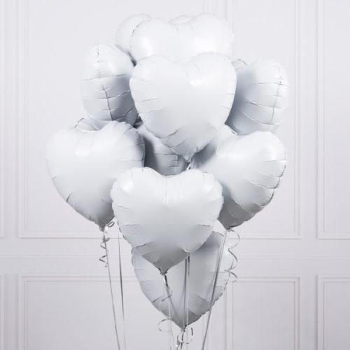 Связка из 10 шаров Сердца Ассорти Белые