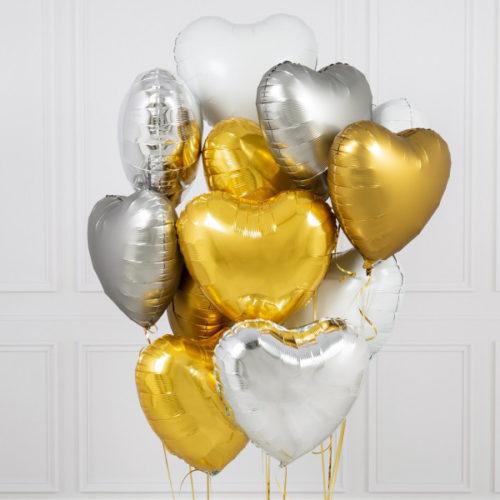 Связка из 10 шаров Сердца Ассорти Золото Белый и Серебро