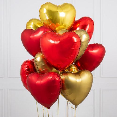 Связка из 10 шаров Сердца Ассорти Золото и Красный