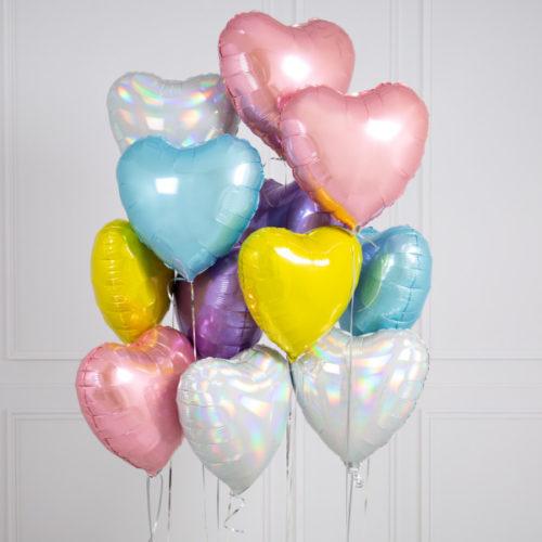 Связка из 10 шаров Сердца Ассорти Нежные тона