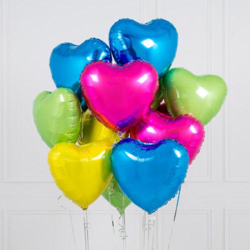 Связка из 10 шаров Сердца Ассорти Яркие тона