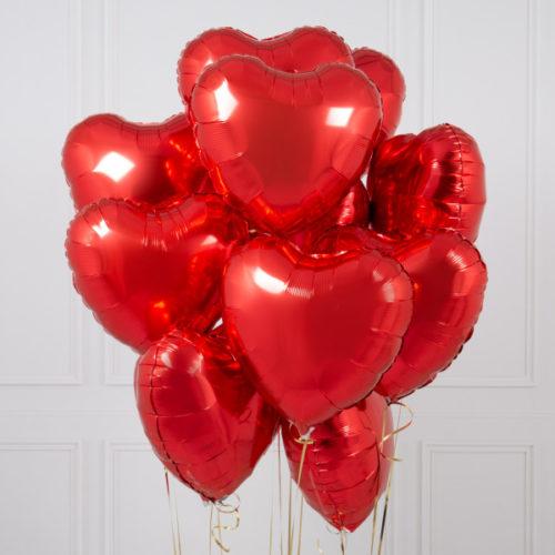Связка из 10 шаров Сердца Красные
