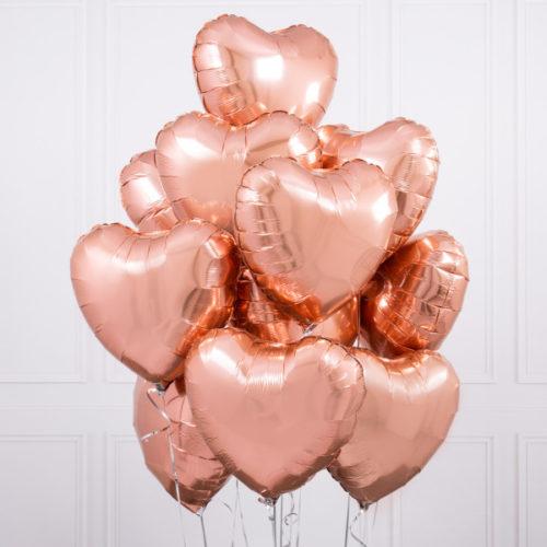 Связка из 10 шаров Сердца Розовое Золото