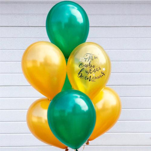 Связка из 7 шаров Круглые Зеленый и Золото