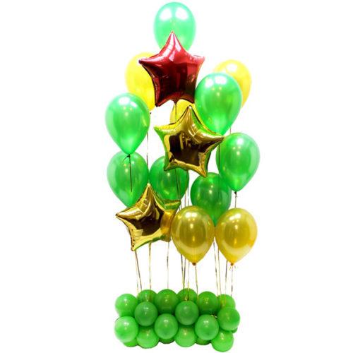 Стойка из шаров на 23 февраля Золото Зеленый и Красный
