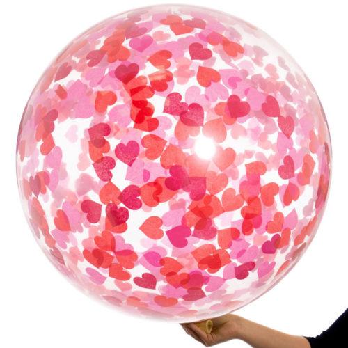 Шар гигант с Конфетти Сердца Красные и Розовые тона