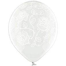 Шар 30 см Розы Прозрачный Кристалл