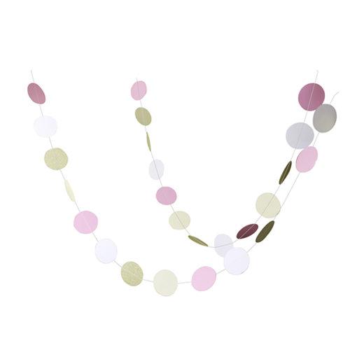Бумажное украшение подвеска Круги 6,5 см white pink gold глиттер180 см