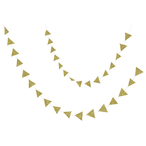 Бумажное украшение подвеска Треугольники 5 см gold глиттер 120 см