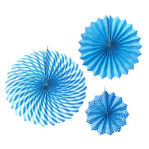 Набор бумажных фантов 20 - 30 - 40 см Голубой 3 штуки