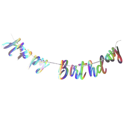 Праздничная гирлянда Happy birthday голография 200 см