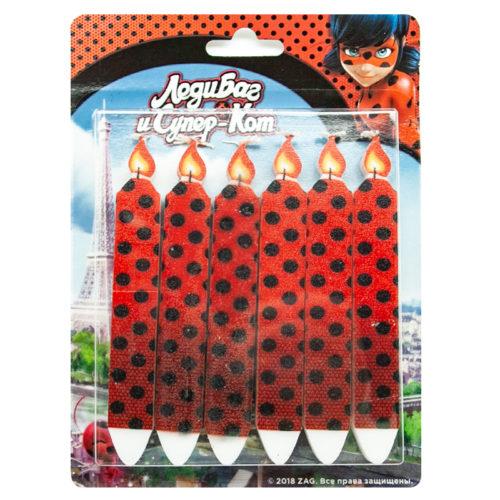 Свечи Черные точки Леди Баг и Супер-кот Красный 6 штук
