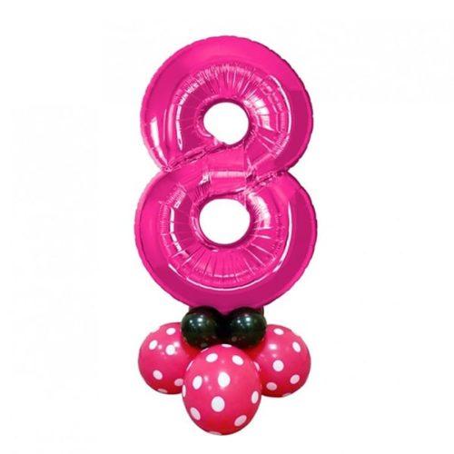 Стойка Цифра 8 на подставке Фуксия Горох