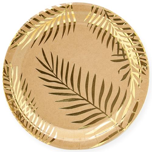Тарелки 18 см Золотые листья Крафт 6 штук