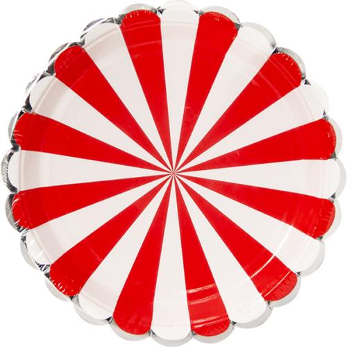 Тарелки 23 см Серебряная кайма Красный Белый 6 штук