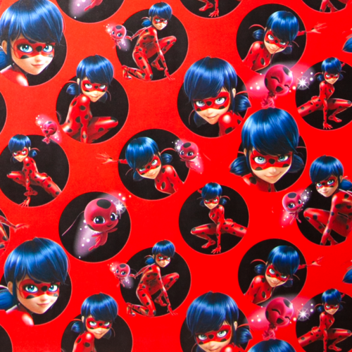 Упаковочная бумага Леди Баг и Супер-кот Красный 0,70 х 1 м 2 штуки