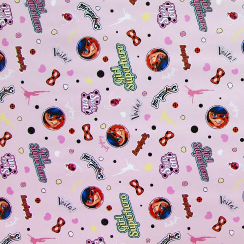 Упаковочная бумага Леди Баг и Супер-кот Розовый 0,70 х 1 м 2 штуки
