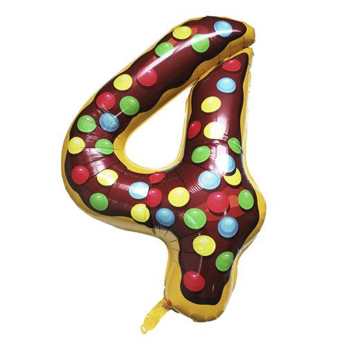 Шар 102 см Цифра 4 Пончик