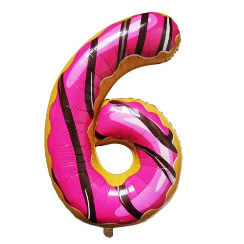 Шар 102 см Цифра 6 Пончик