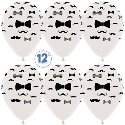 Шар 30 см Джентльмен Усы и галстук-бабочка Прозрачный Кристалл
