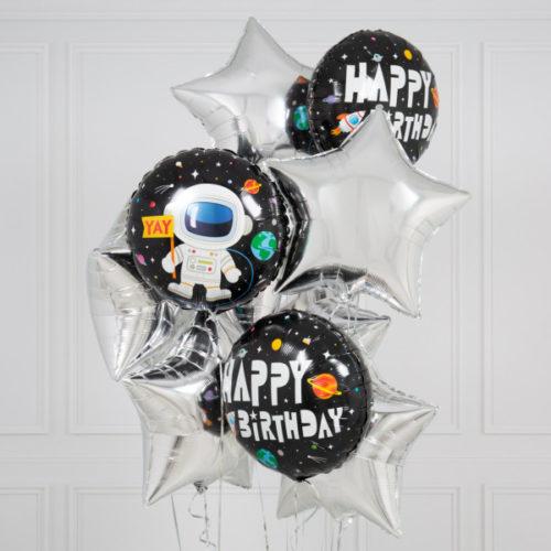 Комплект шаров С днем Рождения Космос