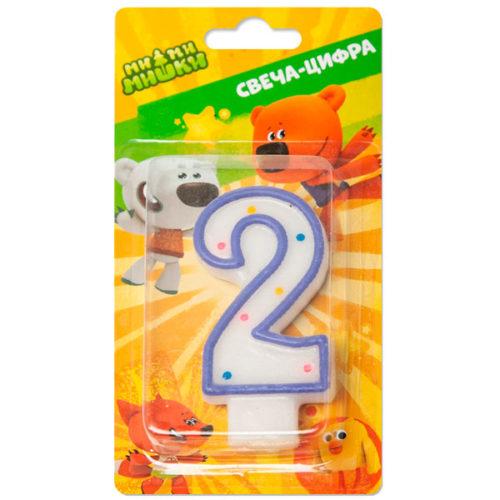 Свеча Цифра 2 Ми-ми-мишки 7 см