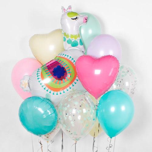 Связка из воздушных шаров Лама и сердечко