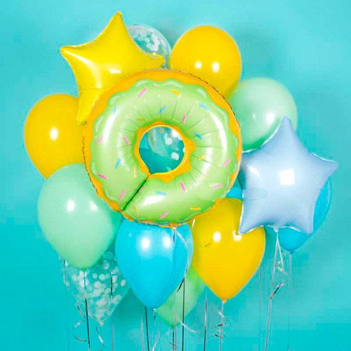 Связка из воздушных шаров Пончик Ассорти