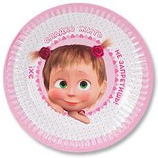 Тарелка бумажная 17 см Маша Сердца 6 штук