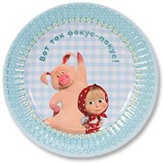 Тарелка бумажная 17 см Маша и Медведь Ромашки 6 штук