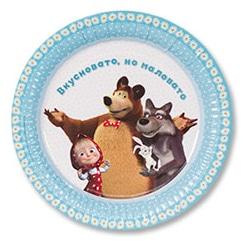 Тарелка бумажная 23 см Маша и Медведь Ромашки 6 штук