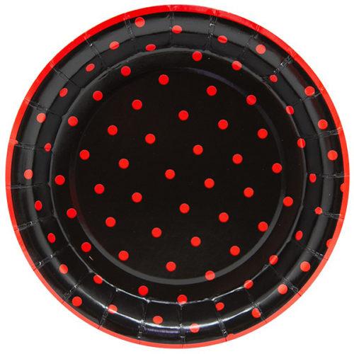 Тарелки 18 см Божья коровка Черный 6 штук