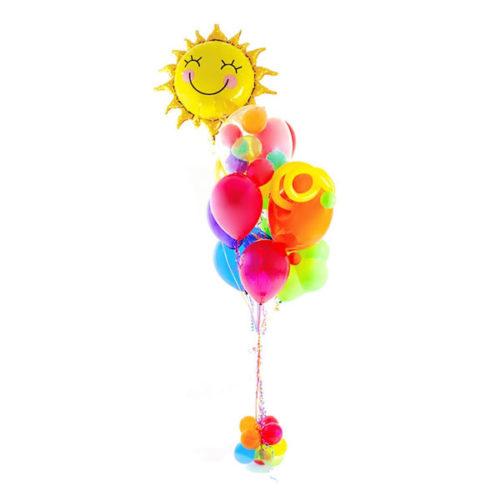 Фонтан из шаров Микс с Солнышком Мини